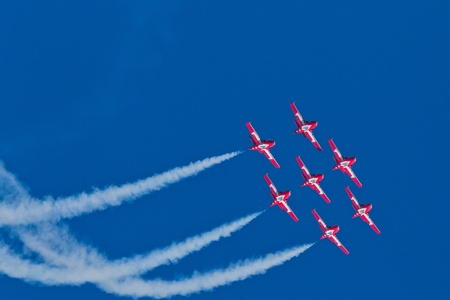 professionalism: SAN FRANCISCO, CA - OCTOBER 9: The Snowbirds Demonstration Team (431 Squadron), demonstrate the skill, professionalism, and teamwork of Canadian Forces personnel during Fleet Week on October 9, 2011 in San Francisco, CA.