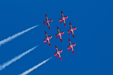 SAN FRANCISCO, CA - OCTOBER 9: The Snowbirds Demonstration Team (431 Squadron), demonstrate the skill, professionalism, and teamwork of Canadian Forces personnel during Fleet Week on October 9, 2011 in San Francisco, CA.  Stock Photo - 12469366