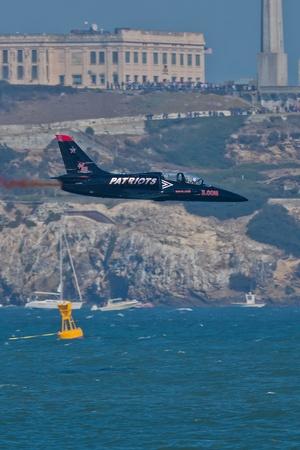 SAN FRANCISCO, CA - OCTOBER 8: Patriots Jet Team on L-39 Albatross aircrafts showing precision of flying, the highest level of pilot skills during Fleet Week on October 8, 2011 in San Francisco, CA.