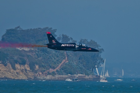 SAN FRANCISCO, CA - OCTOBER 8: Patriots Jet Team on L-39 Albatross aircrafts showing precision of flying, the highest level of pilot skills during Fleet Week on October 8, 2011 in San Francisco, CA.  Stock Photo - 12778424