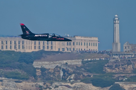 SAN FRANCISCO, CA - OCTOBER 8: Patriots Jet Team on L-39 Albatross aircrafts showing precision of flying, the highest level of pilot skills during Fleet Week on October 8, 2011 in San Francisco, CA.  Stock Photo - 12778432