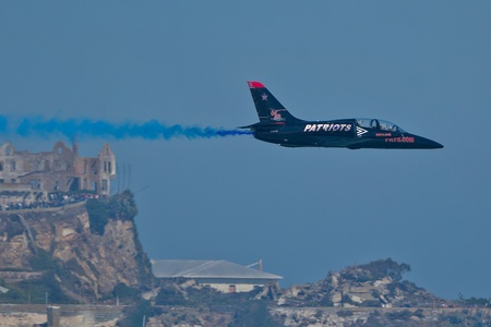 SAN FRANCISCO, CA - OCTOBER 8: Patriots Jet Team on L-39 Albatross aircrafts showing precision of flying, the highest level of pilot skills during Fleet Week on October 8, 2011 in San Francisco, CA.  Stock Photo - 12778433
