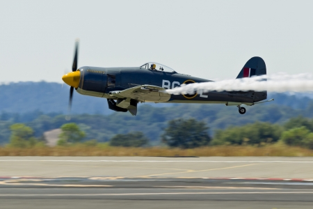 SANTA ROSA, CA - AUG 20: Hawker Sea Fury FB.11 Argonaut aircraft (TG114/N19SF) demonstration during the Wings Over Wine Country Air Show, on August 20, 2011, Charles M. Schulz - Sonoma County Airport, Santa Rosa, CA. Stock Photo - 13669574