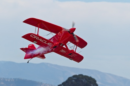 SALINAS, CA - SEPT 25: Sean D. Tucker demonstrates precision of flying and the highest level of pilot skills during the California International Airshow, on September 25, 2011, Salinas, CA. Stock Photo - 13669695