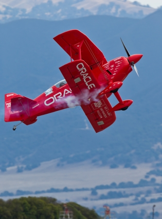 SALINAS, CA - SEPT 25: Sean D. Tucker demonstrates precision of flying and the highest level of pilot skills during the California International Airshow, on September 25, 2011, Salinas, CA. Stock Photo - 13669692