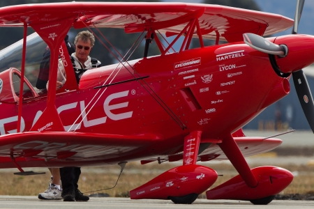 SALINAS, CA - SEPT 25: Sean D. Tucker behind Oracle Challenger bi-plane during the California International Airshow, on September 25, 2011, Salinas, CA.