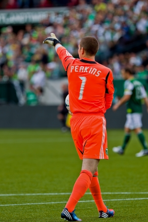 PORTLAND, OR - JUNE 24: Goalkeeper Troy Perkins #1 of the Portland Timbers during Seattle Sounders vs. Portland Timbers game, on June 24, 2012 at Jeld-Wen Field in Portland, OR.  Stock Photo - 14339597