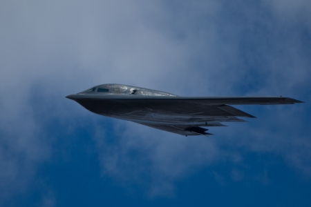 TACOMA, WA ? JULY 21: Northrop Grumman B-2A Spirit (?Spirit of Ohio?) flyby demonstration during Air Expo at McChord Field Joint Base Lewis-McChord on July 21, 2012 in Tacoma, WA.  Stock Photo - 14581517