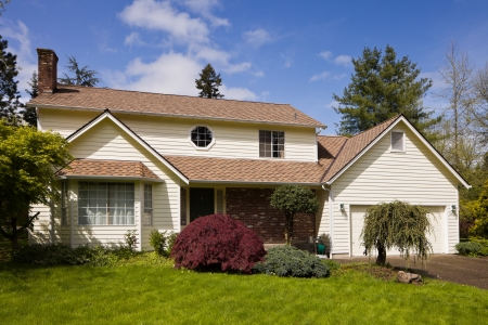 dwelling: Residential home.  Average american two story residential home. Stock Photo
