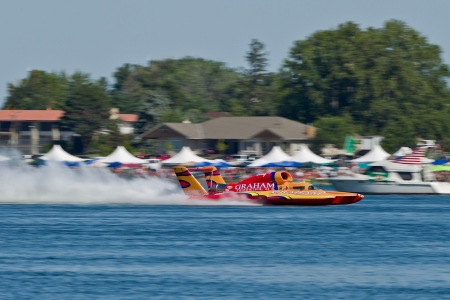 hydroplane: TRI-CITIES, WA - JULY 29: Jimmy Shane, driving the U-5 Graham Trucking, wins the Lamb Weston Columbia Cup hydroplane final on July 29, 2012 on the Columbia River in Tri-Cities, WA.