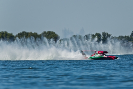 hydroplane: TRI-CITIES, WA - JULY 28: Steve David pilots the U-6 Oh Boy Oberto unlimited hydroplane at the Lamb Weston Columbia Cup July 28, 2012 on the Columbia River in Tri-Cities, WA. Editorial