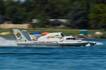 hydroplane: TRI-CITIES, WA - JULY 28: Jon Zimmerman pilots the U-9 Jones Racing unlimited hydroplane at the Lamb Weston Columbia Cup July 28, 2012 on the Columbia River in Tri-Cities, WA.