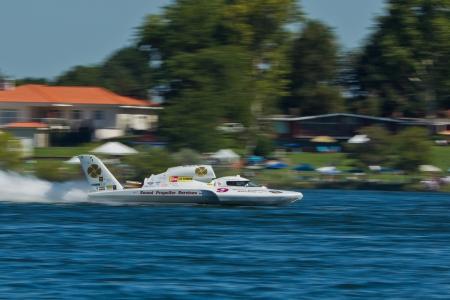 hydroplane: TRI-CITIES, WA - JULY 29: Jon Zimmerman pilots the U-9 Jones Racing unlimited hydroplane at the Lamb Weston Columbia Cup July 29, 2012 on the Columbia River in Tri-Cities, WA.
