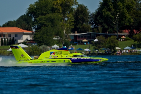 hydroplane: TRI-CITIES, WA - JULY 29: JW Myers pilots the U-11 Unlimited Racing Group hydroplane at the Lamb Weston Columbia Cup July 29, 2012 on the Columbia River in Tri-Cities, WA.