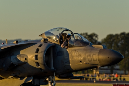 HILLSBORO, OR– AUG 3: U.S. Marine Corps AV-8B Harrier II Demonstration Team presents aircraft during Oregon Air Show at Hillsboro Airport on August 3, 2012 in Hillsboro, OR.
