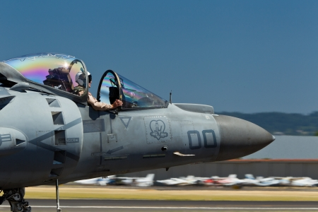HILLSBORO, OR– AUG 4: U.S. Marine Corps AV-8B Harrier II Demonstration Team presents aircraft during Oregon Air Show at Hillsboro Airport on August 4, 2012 in Hillsboro, OR.