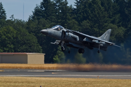 HILLSBORO, OR– AUG 5: U.S. Marine Corps AV-8B Harrier II Demonstration Team presents aircraft during Oregon Air Show at Hillsboro Airport on August 5, 2012 in Hillsboro, OR.
