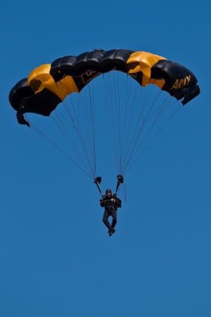 HILLSBORO, OR? AUG 5: A member of the US Army Golden Knights Parachute Team performs at the Oregon Air Show at Hillsboro Airport on August 5, 2012 in Hillsboro, OR.  Stock Photo - 14739981