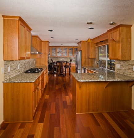 custom cabinet: Renovated designer kitchen. Stock Photo