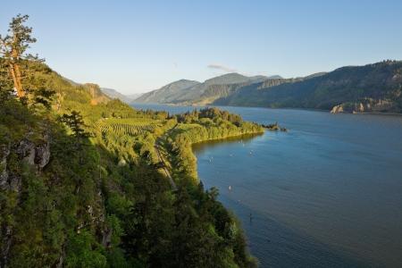 source: View over Columbia River,  Columbia River Gorge, Oregon.  Stock Photo