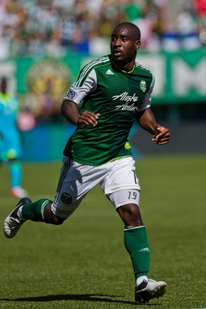 PORTLAND, OR - SEPT 15: Forward Bright Dike #19 of the Portland Timbers in the move during soccer game Seattle Sounders vs Portland Timbers, on Sep 15, 2012 at Jeld-Wen Field in Portland, OR.
