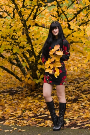 Beautiful elegant young woman and autumn colors  photo