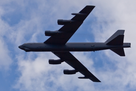 TACOMA, WA - JULY 21: Boeing B-52 Stratofortress flyby demonstration during Air Expo at McChord Field Joint Base Lewis-McChord on July 21, 2012 in Tacoma, WA.  Stock Photo - 19994201