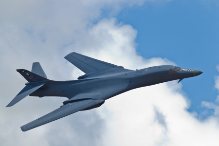 sequestration: TACOMA, WA - JULY 21: B-1B Lancer flyby demonstration during Air Expo at McChord Field Joint Base Lewis-McChord on July 21, 2012 in Tacoma, WA.