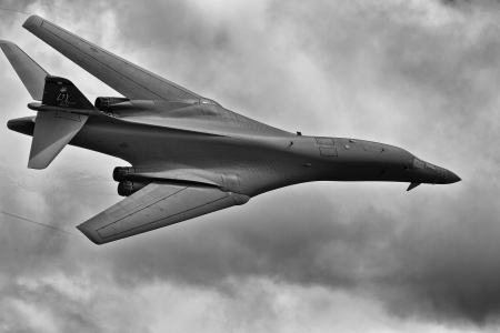 TACOMA, WA - JULY 21: B-1B Lancer flyby demonstration during Air Expo at McChord Field Joint Base Lewis-McChord on July 21, 2012 in Tacoma, WA.  Stock Photo - 19994241