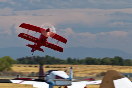 tucker: SACRAMENTO, CA - SEPT 8: Sean D. Tucker demonstrates precision of flying and the highest level of pilot skills during California Capital Airshow on September 8, 2012, Sacramento, CA. Editorial