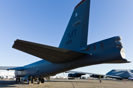 sequester: SACRAMENTO, CA - SEPT 8: Boeing B-52 Stratofortress on display during California Capital Airshow on September 8, 2012 at Mather Airport, Sacramento, CA.