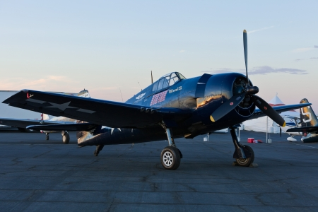 SACRAMENTO, CA - SEPT 8: Commemorative Air Force Grumman F6F Hellcat World War II aircraft on display during California Capital Airshow on September 8, 2012, Sacramento, CA.  Stock Photo - 20372419
