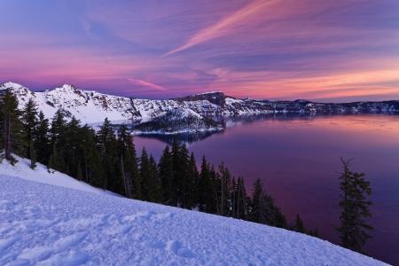 winter sunrise: Winter Scene at Crater Lake National Park, Oregon, U.S.A.  Stock Photo