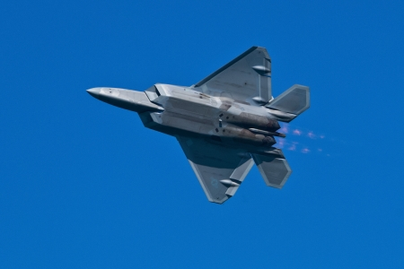 usaf: SAN FRANCISCO, CA - OCTOBER 6:  USAF F-22 Raptor aircraft demonstration during Fleet Week in San Francisco, CA on October 6, 2012 Editorial