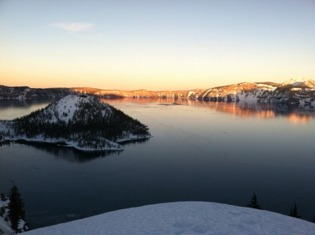 crater lake: Crater lake in winter