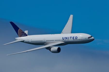 fuselage: SAN FRANCISCO, CA - OCTOBER 5:  United Airlines Boeing 777 (N212UA) demonstration during Fleet Week in San Francisco, CA on October 5, 2012.