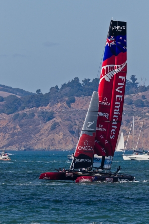 SAN FRANCISCO, CA - OCTOBER 7:  New Zealand team race in Louis Vuitton Cup part of America Editorial