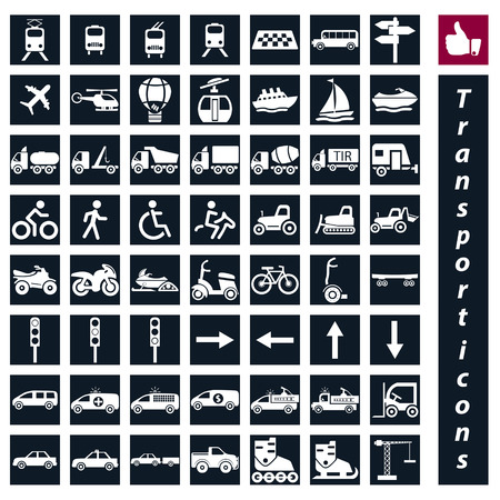 Transport icons  Cars, Ships, Trains, Planes, vector illustrations, set silhouettes isolated on white background  Vector