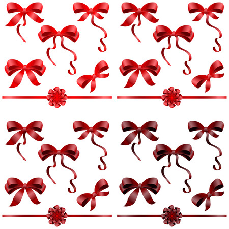Big set of red gift bows with ribbons  Vector illustration  Vector