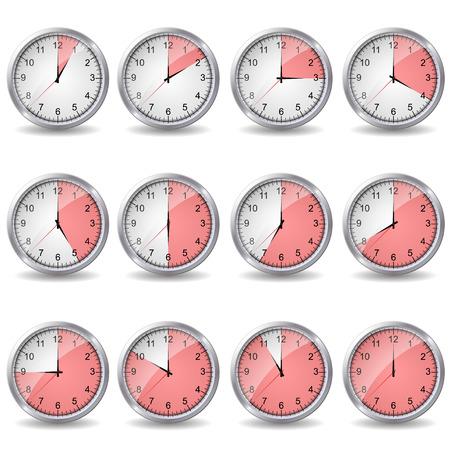 relojes que muestran diverso tiempo Ilustración de vector