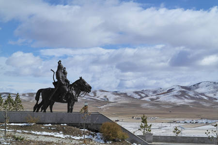 mongolia horse: Mongolian desert