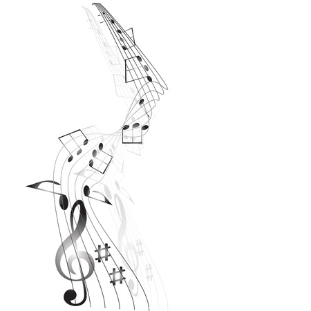 Musical notes staff on white  Vector illustration  Vector
