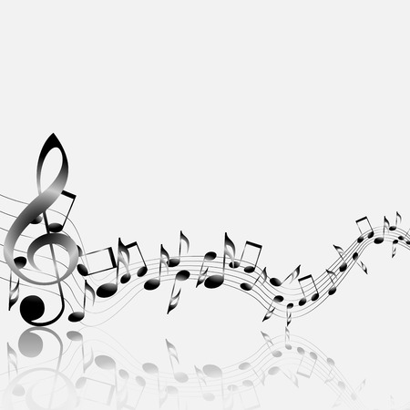 Musical notes staff background on white  Vector illustration Vector