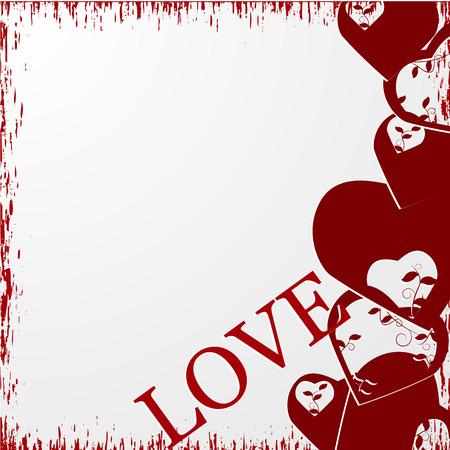 valentine's: Grunge valentine s day background with hearts