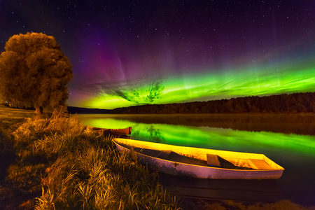 Northern lights in Lithuania Stock Photo