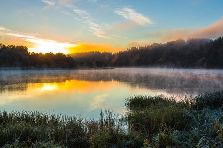 Morning foggy landscape image of Nemunas river