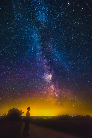 Dark silhouette of man standing and looking to the milky way galaxy