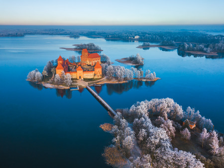 Trakai castle at winter, aerial view above castle