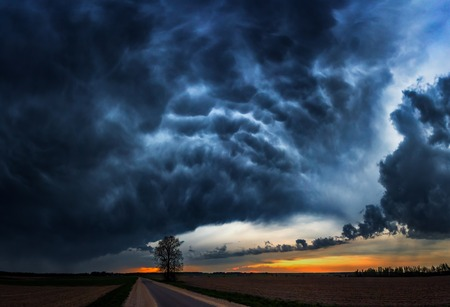 Landscape panorama of storm clouds with the rain Stock Photo