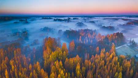 Aerial panoramic view of fog at Autumn, Lithuania